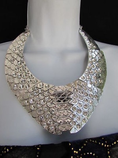 Other A Women Silver Metal Plate Fashion Fish Scales Short Choker Necklace Earrings
