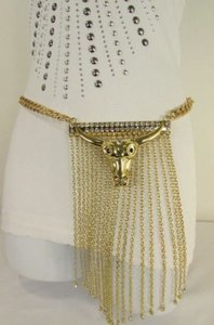 Other A Women Western Gold Metal Big Bull Chains Fashion Belt Hip Waist 27-36