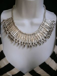 Other A Women Matches Metal Silver Chains Big Statement Fashion Necklace Handmade