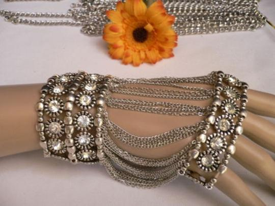 Other A Women Silver Unique Hand Chain M.j. Flowers Bracelet Big Crystals Gaga Style
