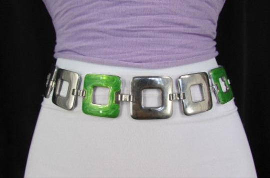 Zara A Zara Women Chains Fashion Belt Silver Metal Green Squares 20-40