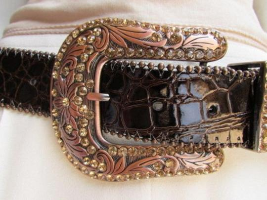 Other Women Brown Leather Western Fashion Belt Gold Rhinestones Big Buckle 36-40