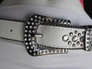 Other A Women White Faux Leather Western Cross Belt Silver Beads Buckle 30-35