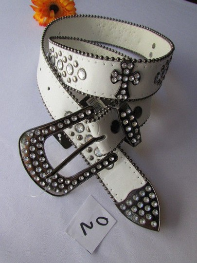 Other A Women White Faux Leather Western Cross Belt Silver Beads Buckle 30-35 Image 1