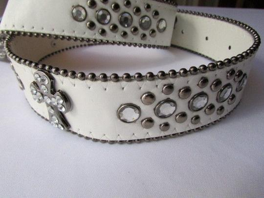 Other A Women White Faux Leather Western Cross Belt Silver Beads Buckle 30-35 Image 10