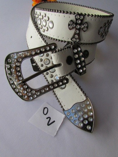 Other A Women White Faux Leather Western Cross Belt Silver Beads Buckle 30-35 Image 11