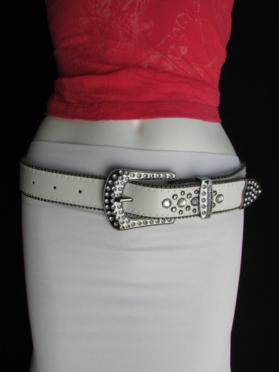 Other A Women White Faux Leather Western Cross Belt Silver Beads Buckle 30-35 Image 2