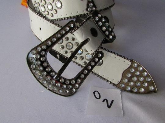 Other A Women White Faux Leather Western Cross Belt Silver Beads Buckle 30-35 Image 3