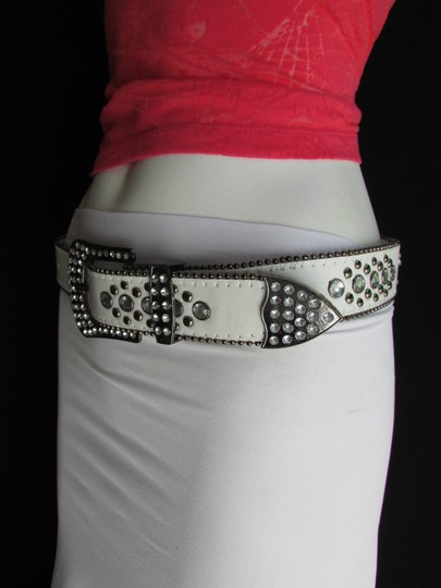 Other A Women White Faux Leather Western Cross Belt Silver Beads Buckle 30-35 Image 6