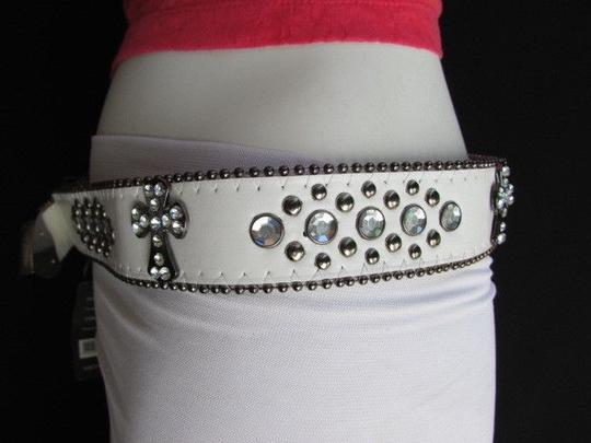 Other A Women White Faux Leather Western Cross Belt Silver Beads Buckle 30-35 Image 8