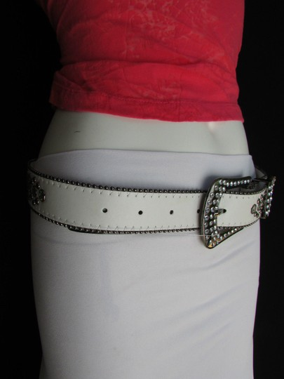 Other A Women White Faux Leather Western Cross Belt Silver Beads Buckle 30-35 Image 9