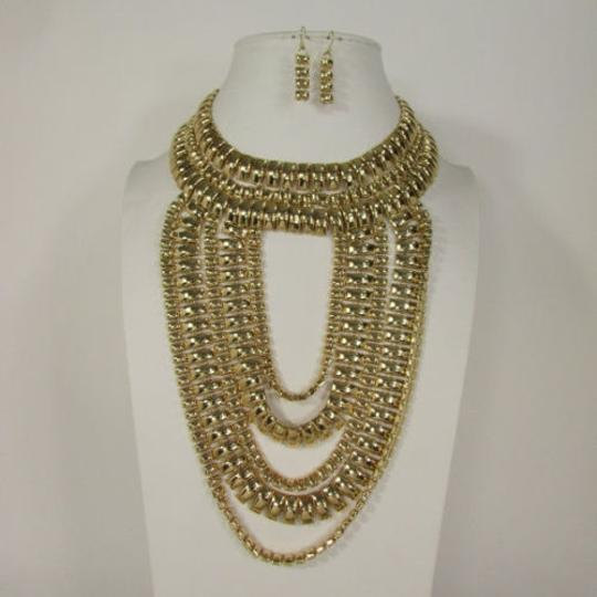 Other A Women Necklace Strands Fashion Gold Links Chains Chunky Metal Earrings Set Image 1