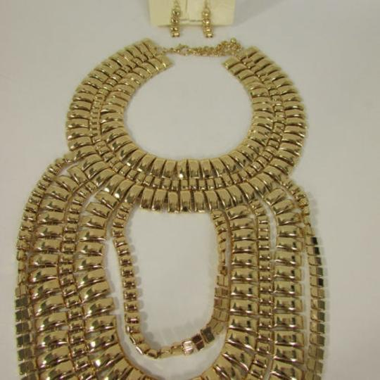 Other A Women Necklace Strands Fashion Gold Links Chains Chunky Metal Earrings Set Image 10
