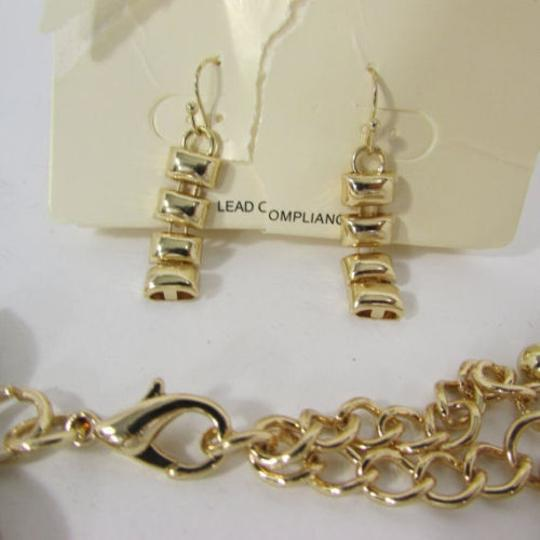 Other A Women Necklace Strands Fashion Gold Links Chains Chunky Metal Earrings Set Image 2