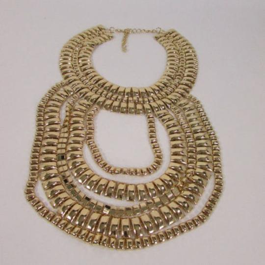 Other A Women Necklace Strands Fashion Gold Links Chains Chunky Metal Earrings Set Image 4