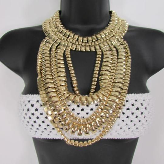 Other A Women Necklace Strands Fashion Gold Links Chains Chunky Metal Earrings Set Image 5