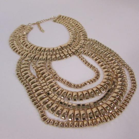 Other A Women Necklace Strands Fashion Gold Links Chains Chunky Metal Earrings Set Image 7