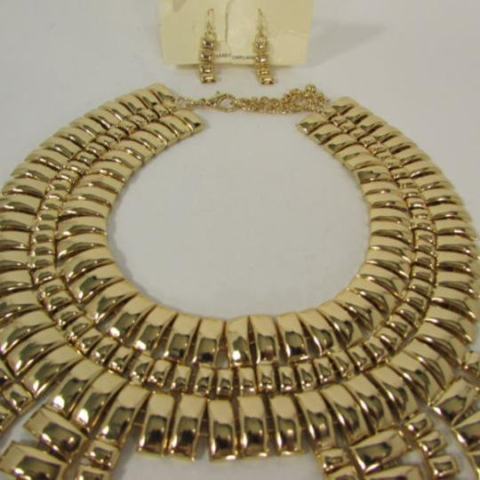 Other A Women Necklace Strands Fashion Gold Links Chains Chunky Metal Earrings Set