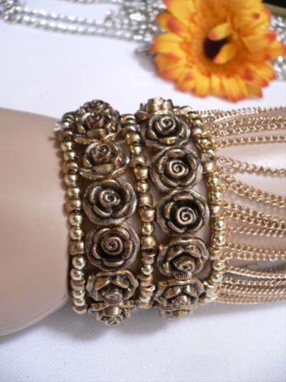 Other A Women Gold Unique Hand Chain M.j. Flowers Bracelet Big Roses Houswives Style Image 10