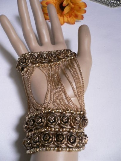 Other A Women Gold Unique Hand Chain M.j. Flowers Bracelet Big Roses Houswives Style Image 2
