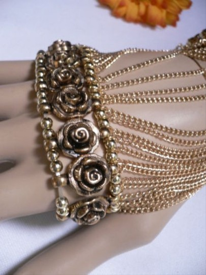 Other A Women Gold Unique Hand Chain M.j. Flowers Bracelet Big Roses Houswives Style Image 5