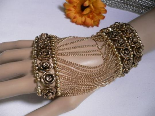 Other A Women Gold Unique Hand Chain M.j. Flowers Bracelet Big Roses Houswives Style Image 9