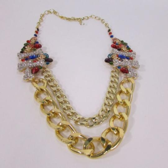 Other Women Metal Skulls Bones Chunky Chains Strands Fashion Necklace Gold Silver