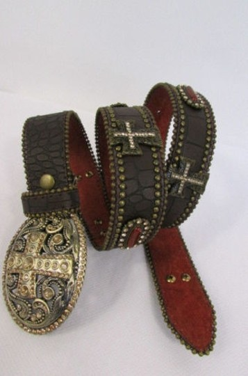 Other A Women Black Turqoise Brown Leather Western Fashion Belt Metal Big Cross Image 1