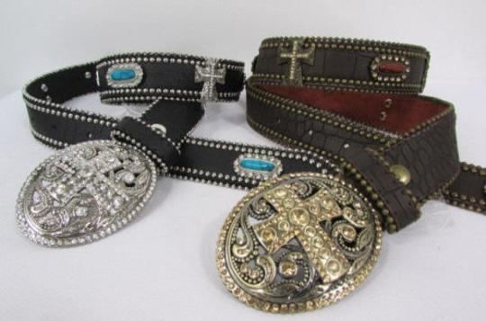 Other A Women Black Turqoise Brown Leather Western Fashion Belt Metal Big Cross Image 11