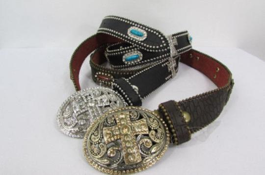 Other A Women Black Turqoise Brown Leather Western Fashion Belt Metal Big Cross Image 3