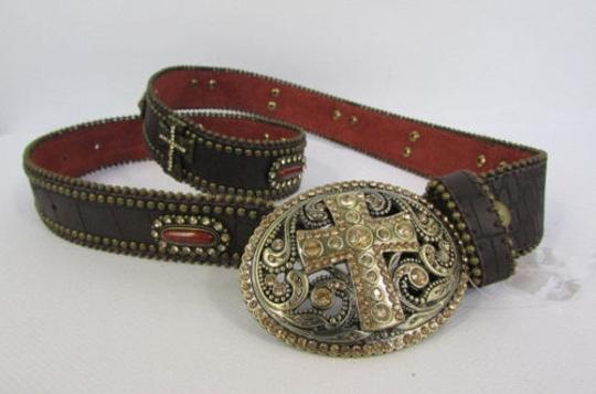 Other A Women Black Turqoise Brown Leather Western Fashion Belt Metal Big Cross Image 4