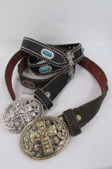 Other A Women Black Turqoise Brown Leather Western Fashion Belt Metal Big Cross Image 5