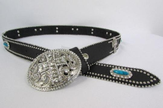 Other A Women Black Turqoise Brown Leather Western Fashion Belt Metal Big Cross Image 6