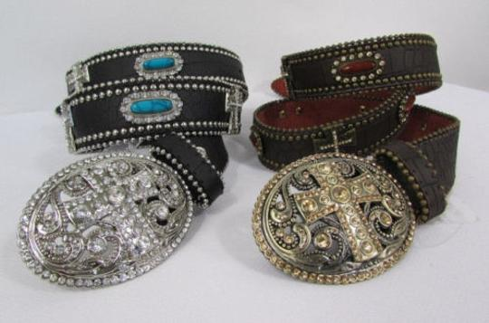 Other A Women Black Turqoise Brown Leather Western Fashion Belt Metal Big Cross Image 7
