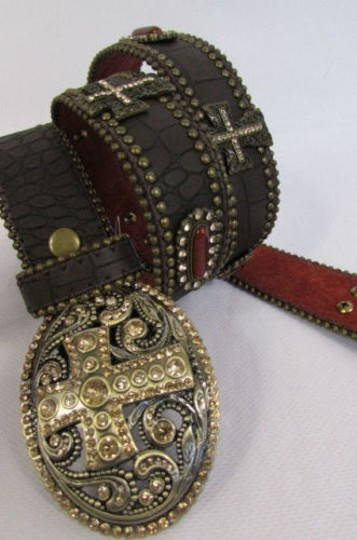 Other A Women Black Turqoise Brown Leather Western Fashion Belt Metal Big Cross Image 8