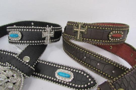 Other A Women Black Turqoise Brown Leather Western Fashion Belt Metal Big Cross Image 9
