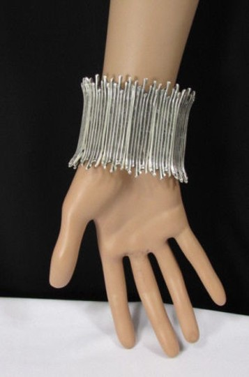 Other A Women Silver Elastic Metal African Tribal Style Bracelet Turkey Hand Made