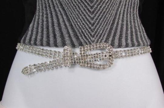Other A Women Fashion Silver Rhinestones Classic Thin Metal Fashion Belt 31-37