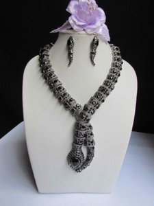A Women Pewter Long Snake Necklace Statement Black Rhinestones Earrings Set