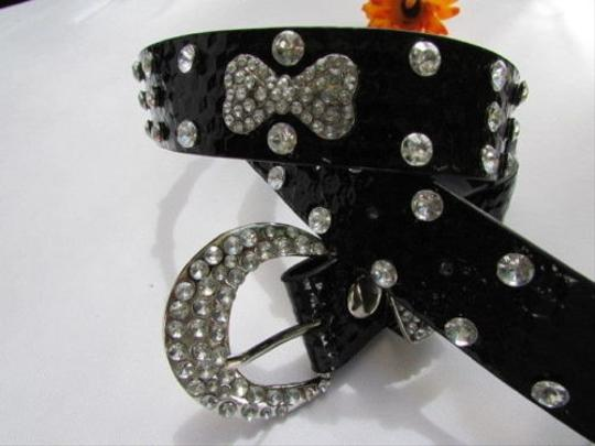Other Women Faux Leather Western Black Belt Big Bow Silver Beads Buckle 28-33