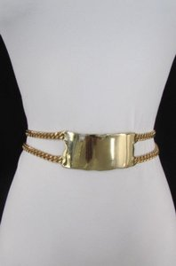 A Women Gold Metal Plate Strands Chains Hip Waist Fashion Belt 31-40