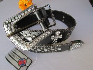 Other A Women Black Faux Leather Western Belt Silver Cross Beads Buckle 34-38