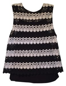 Lucky Brand 2 Piece Sleeveless Crochet Tank Top Black & white