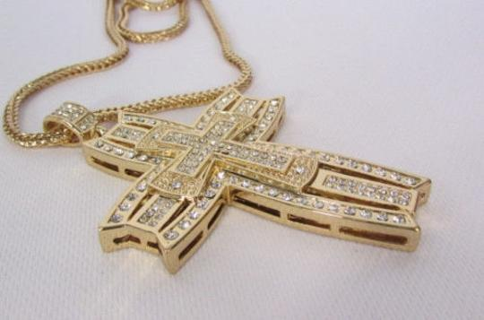 Other A Men Metal Chains Long Fashion Necklace Wide Gold 3d Cross Rhinestones