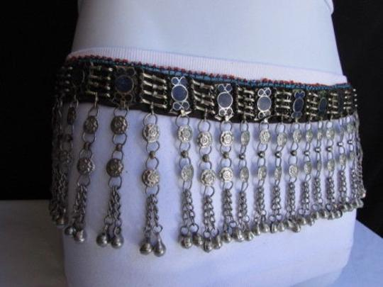 Other Chic Women Belt Silver Thin Chains Blue Beads Fashion Mmeta Bells 30-35 Image 2