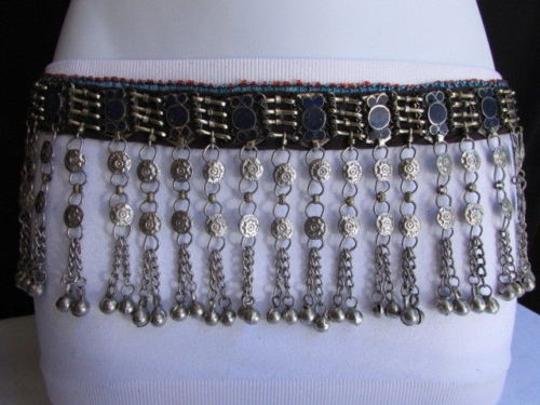 Other Chic Women Belt Silver Thin Chains Blue Beads Fashion Mmeta Bells 30-35 Image 4