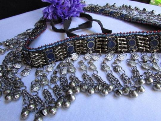 Other Chic Women Belt Silver Thin Chains Blue Beads Fashion Mmeta Bells 30-35 Image 8