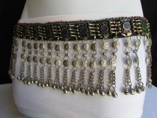 Other Chic Women Belt Silver Thin Chains Blue Beads Fashion Mmeta Bells 30-35 Image 9