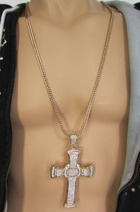 A Men Metal Chains Long Fashion Necklace Silver Gold Big 3d Cross Rhinestones