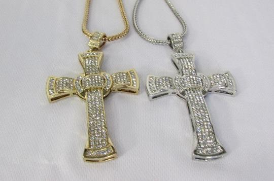 Other A Men Metal Chains Long Fashion Necklace Silver Gold Big 3d Cross Rhinestones